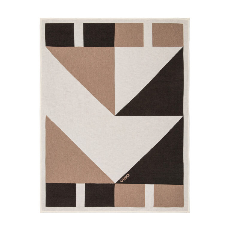 tapestry cotton jacquard white, black and brown blanket on white background