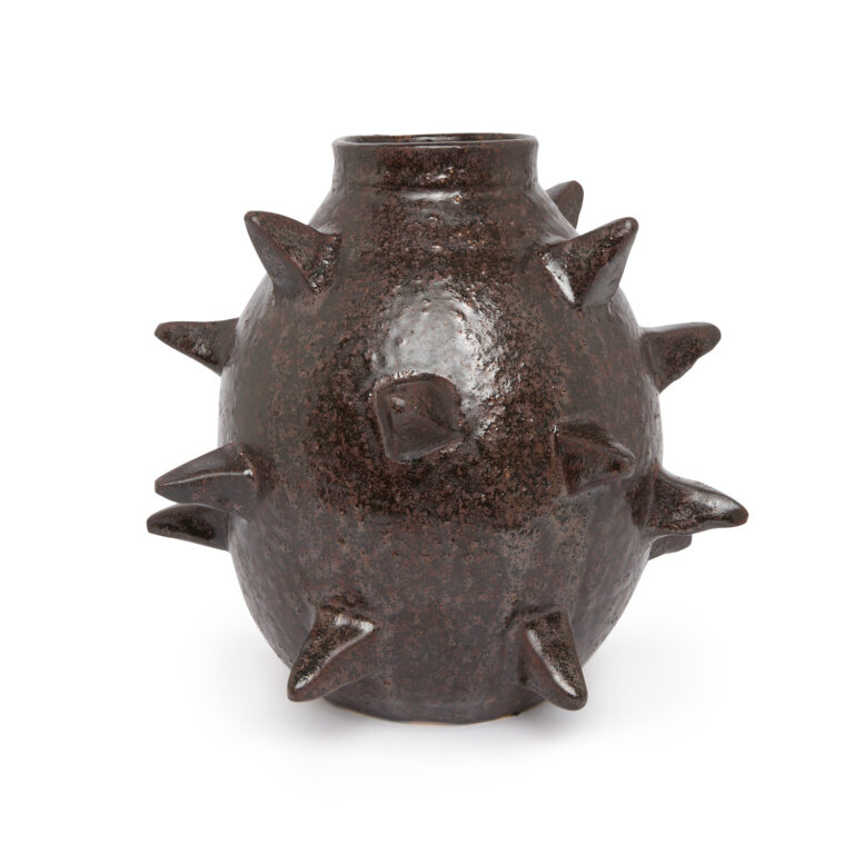 Dark chocolate glazing and off-white inside ceramic large spherical vase with spikes on white background