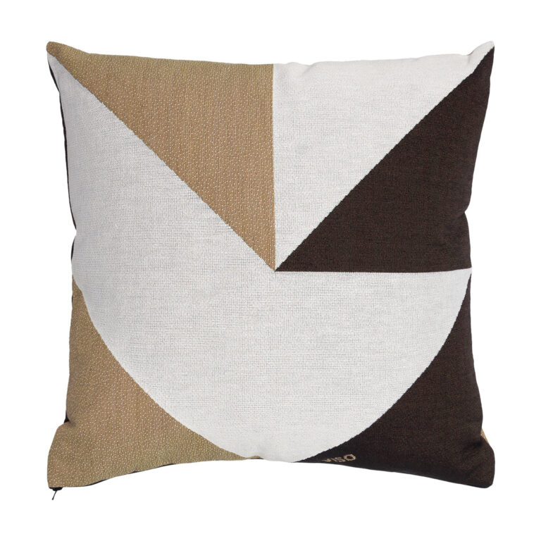 tapestry cotton jacquard white, black and brown pillow on white background