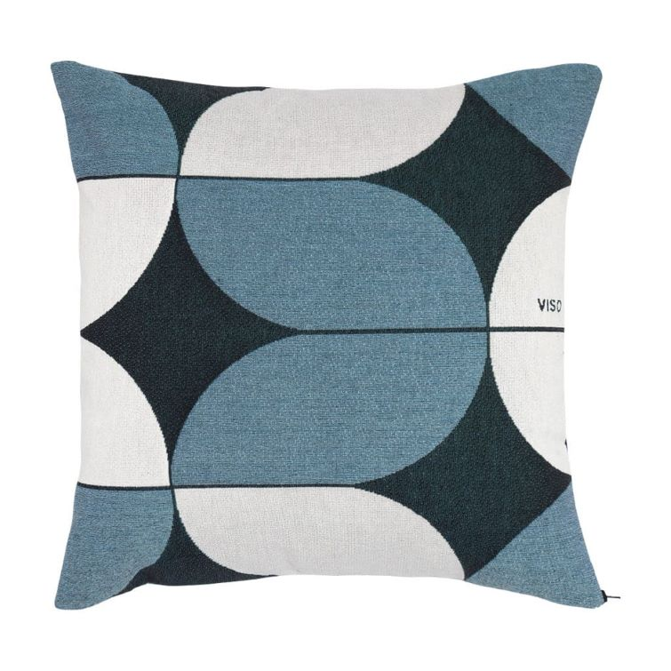 tapestry cotton jacquard white, navy and blue pillow on white background